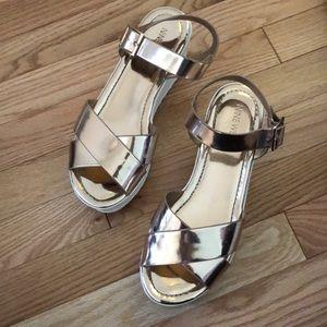 Nine West Platform Rose Gold strap sandals 7